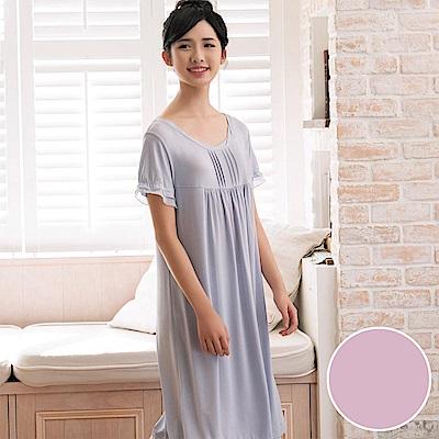 華歌爾 冰涼紗 居家休閒 M-L 短袖睡衣裙裝(點點紫)