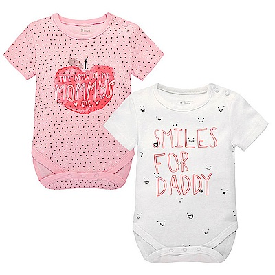 Baby unicorn 粉白蘋果短袖包屁衣2件組