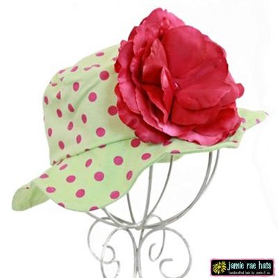Jamie Rae 綠底糖果粉點點覆盆子玫瑰款小女童遮陽帽