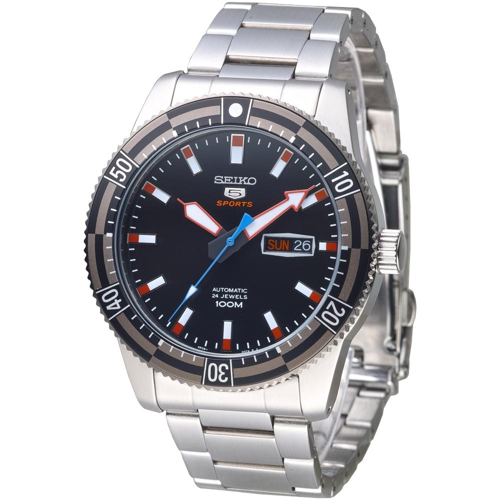 SEIKO 運動潛將百米5號24石自動機械男錶(SRP735K1)-IP黑框/43mm
