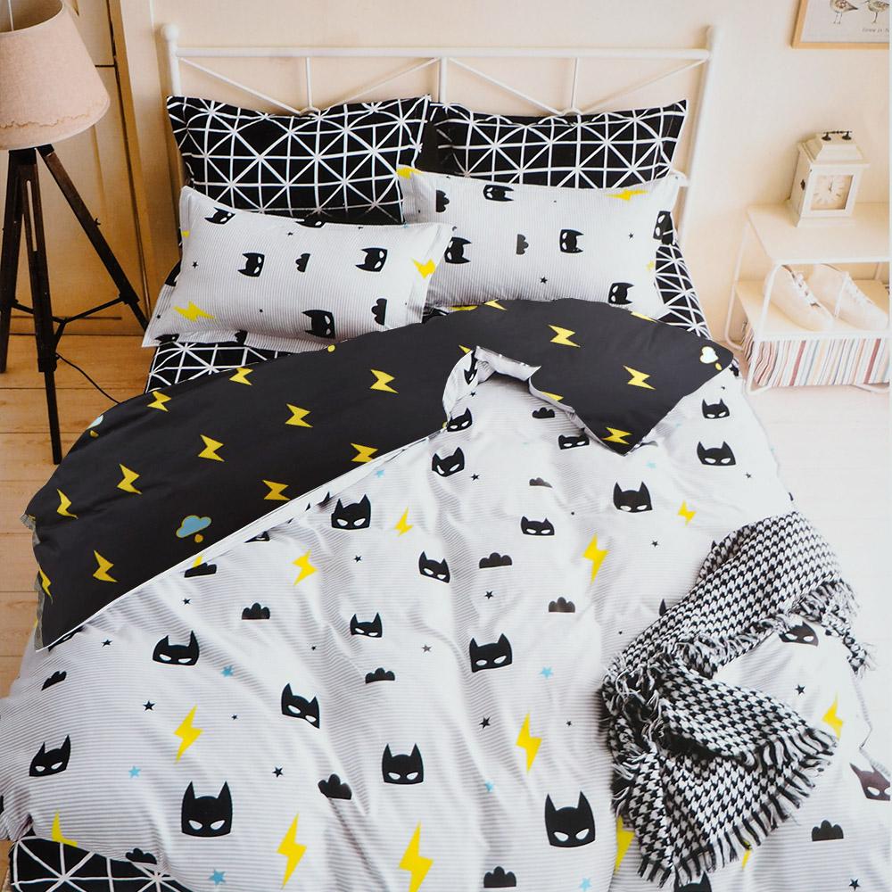 A-one雙人加大 床包被套組四件式 小蝙蝠  美肌磨毛 台灣製