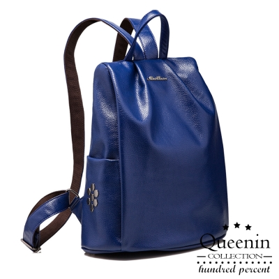 DF Queenin日韓 ~  六角鉚釘款防盜皮革後背包~共2色