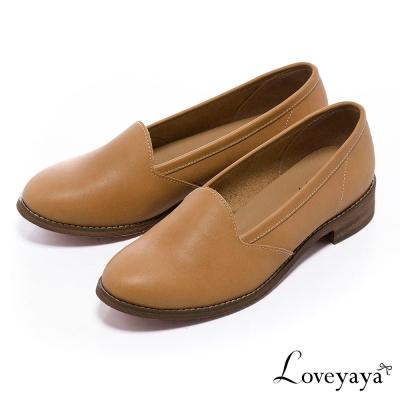 Loveyaya台灣手工牛皮圓頭超軟底低跟樂福鞋