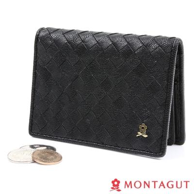 MONTAGUT夢特嬌-編織真羊皮名片夾