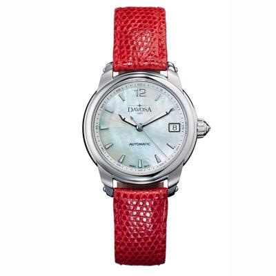 DAVOSA Ladies Delight 系列 經典時尚腕錶-白x紅錶帶/34mm