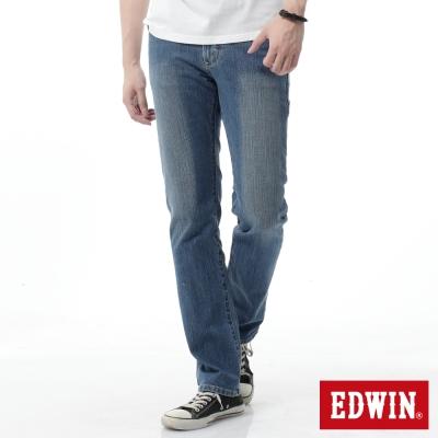 EDWIN 中直筒 基本五袋直筒牛仔褲-男-漂淺藍