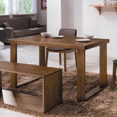 Bernice-比爾北歐風4.3尺實木餐桌-胡桃色