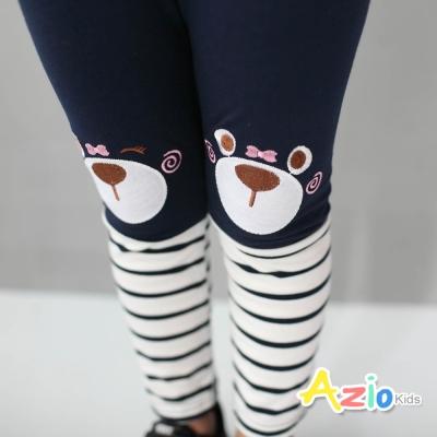 Azio Kids 童裝-內搭褲 小熊拼接條紋內搭長褲(藍)