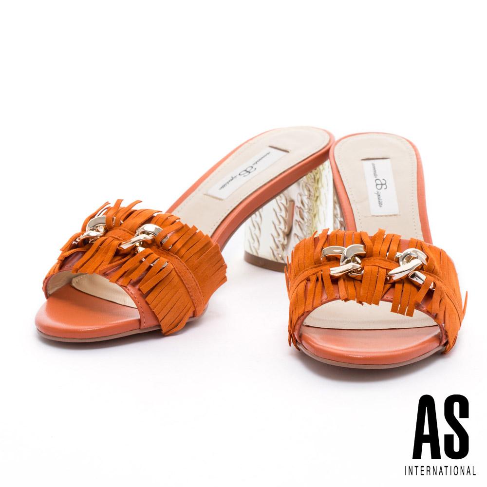 拖鞋 AS 復古時尚流蘇飾釦設計羊麂皮金屬高跟拖鞋-橘