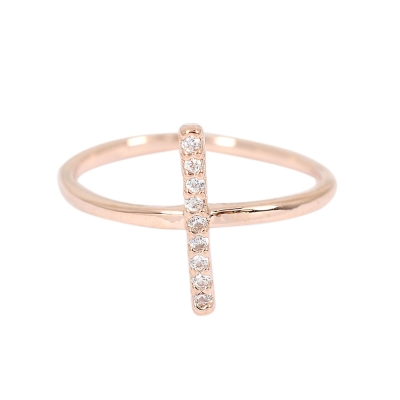 ASTRID&MIYU英國潮流品牌 十字水鑽可調節戒指 玫瑰金