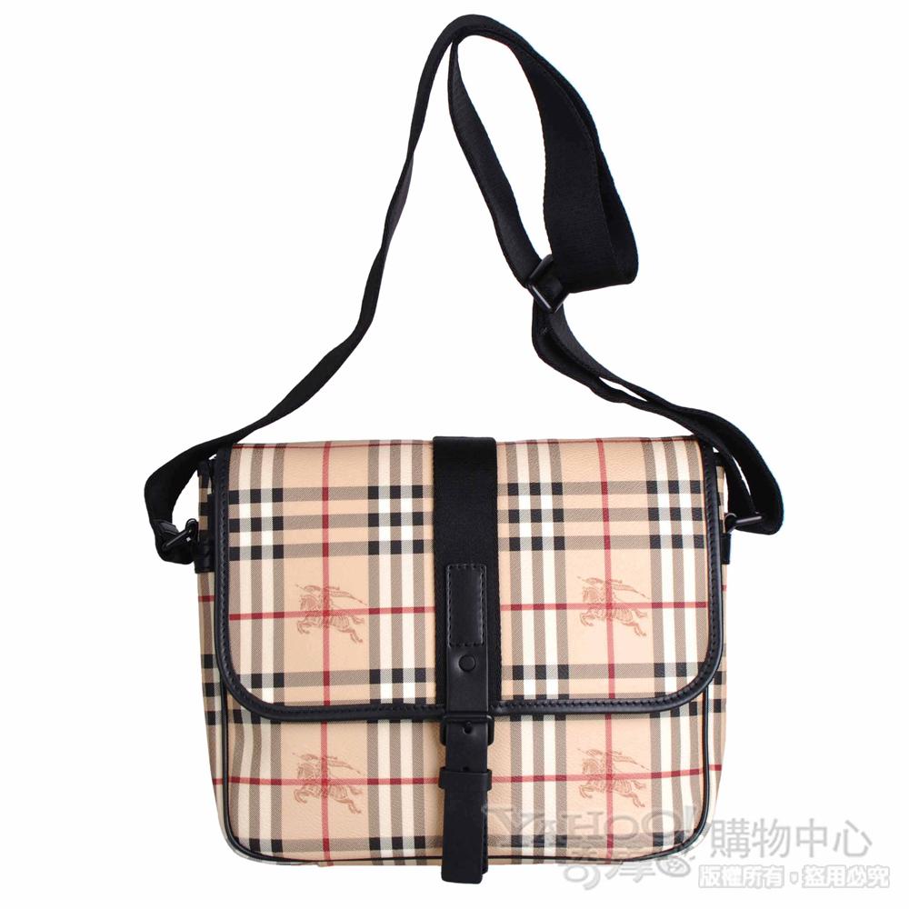 BURBERRY 典戰馬格紋皮帶扣翻蓋斜背書包