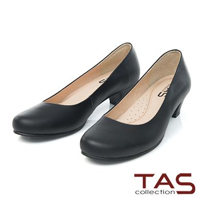 TAS-氣質素面真牛皮低跟鞋-成熟黑