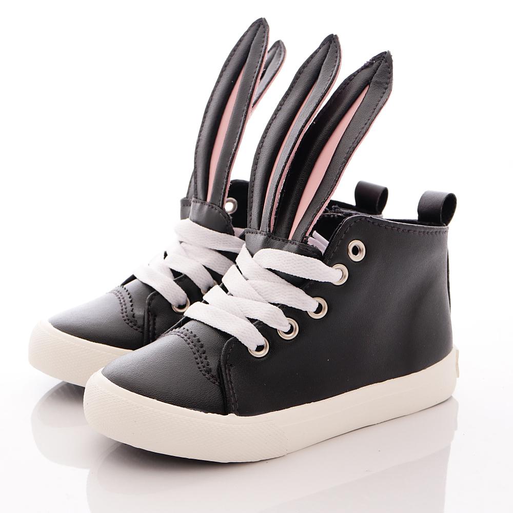 HABU韓版 兔耳朵皮質潮鞋款 K21-BK 黑 (寶寶段)T1