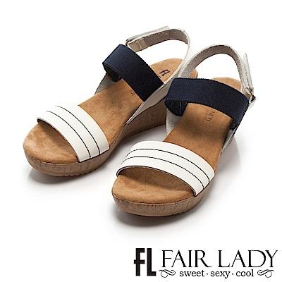 Fair Lady 優雅漫步一字厚底波跟涼鞋 白