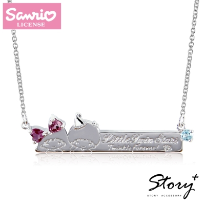 STORY故事銀飾-雙星仙子天然寶石純銀項鍊(白K款)