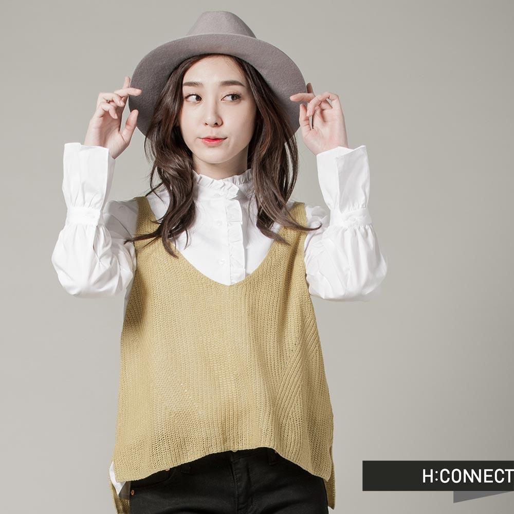 H:CONNECT韓國品牌女裝純色V領針織感外搭背心黃