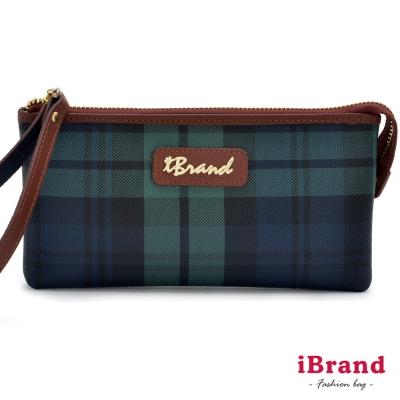 iBrand-英倫時尚經典綠格紋萬用手拿包-快