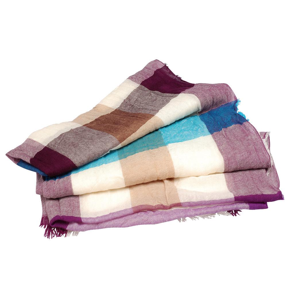 BURBERRY 經典大方格開市米羊毛絲巾(紫X白X藍)
