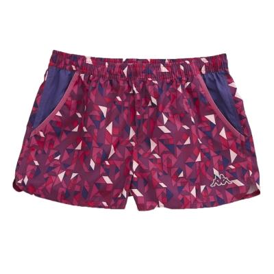 KAPPA義大利 舒適時尚女單層慢跑小短褲-亮莓紫 深蘭紫