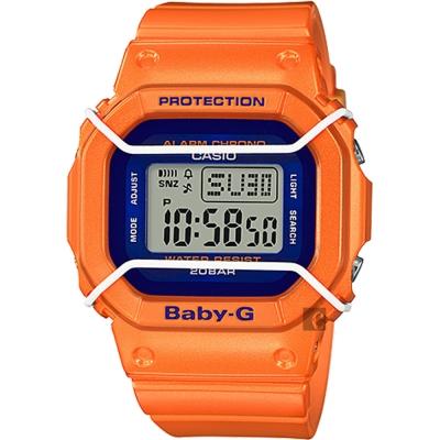 CASIO卡西歐 Baby-G 復刻潮流腕錶-橘/44.7mm