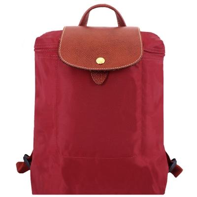 Longchamp皮飾邊折疊後背包(紅色)