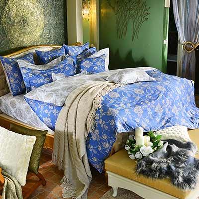 義大利La Belle 蘭陵國境 雙人四件式防蹣抗菌舖棉兩用被床包組