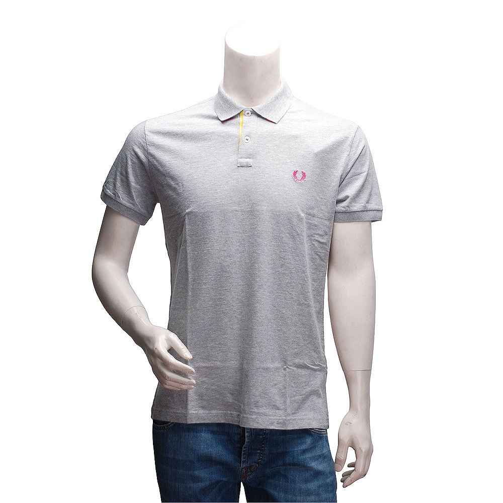 FRED PERRY 經典刺繡LOGO 純棉撞色設計立領短袖POLO衫(灰)