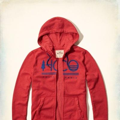 Hollister HCO 長袖 文字 連帽外套 紅色 259