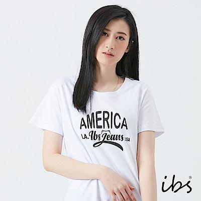 ibs美式文字T恤-白-女