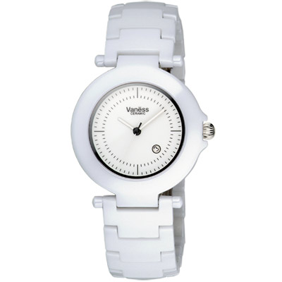 Vaness 白色典藏陶瓷腕錶(35mm)