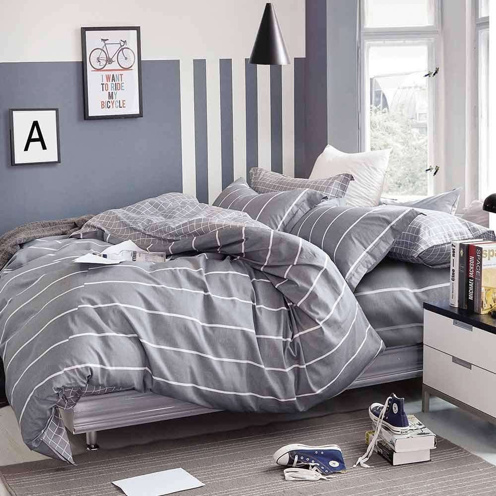 Ania Casa 時尚風 雙人三件式 100%精梳棉 台灣製 床包枕套純棉三件組