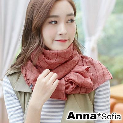AnnaSofia 清新立體方摺 拷克邊圍巾披肩(磚紅色)