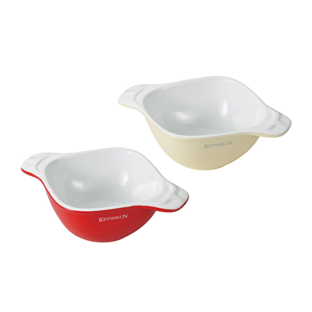 KEVNHAUN 陶瓷方碗雙色2件組(紅色x米色)