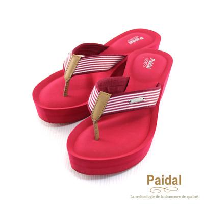 Paidal 海洋風條紋厚底人字夾腳拖休閒拖鞋-紅