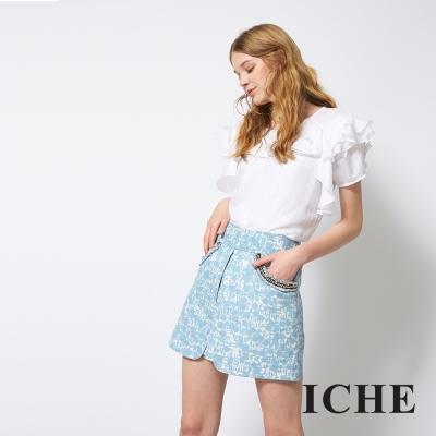 ICHE 衣哲 香奈兒風鏈飾拼接打褶印花短裙