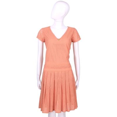 CLASS roberto cavalli 粉橘色洞洞設計短袖洋裝