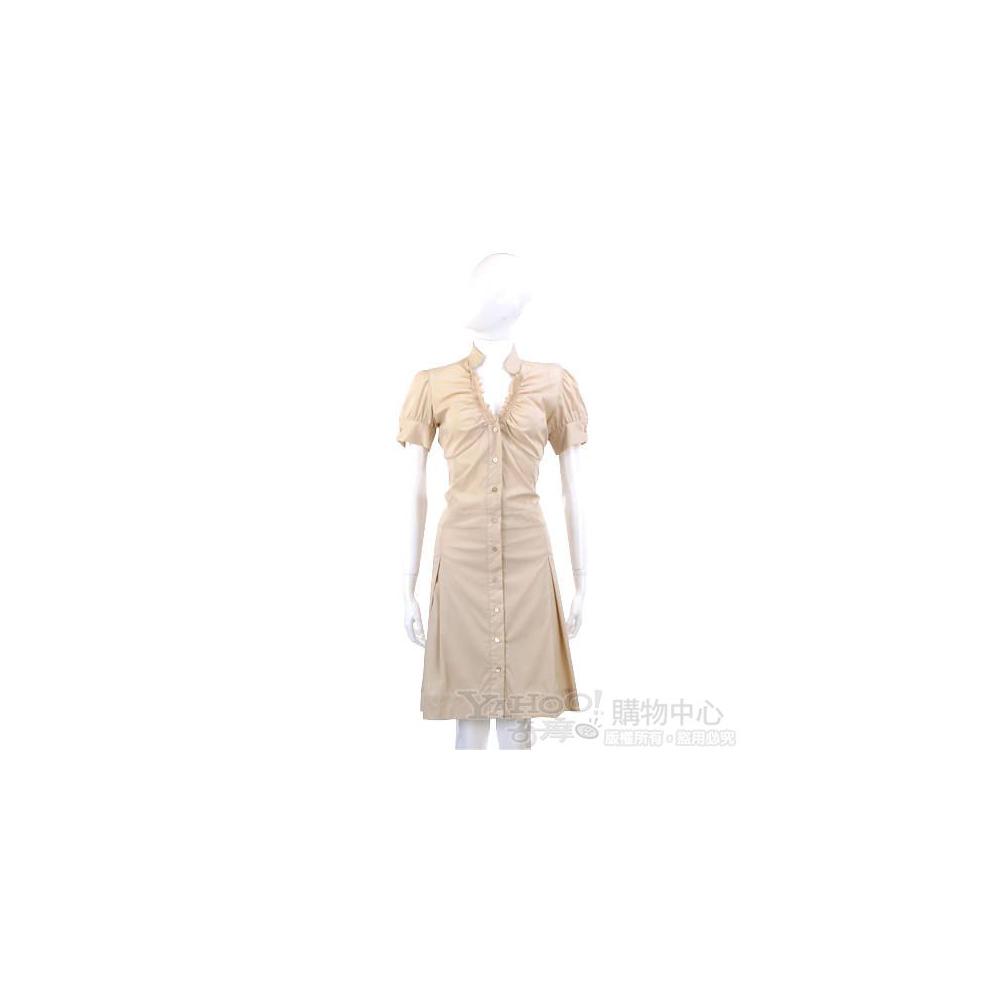 PAOLA FRANI 駝色抓皺造型短袖洋裝