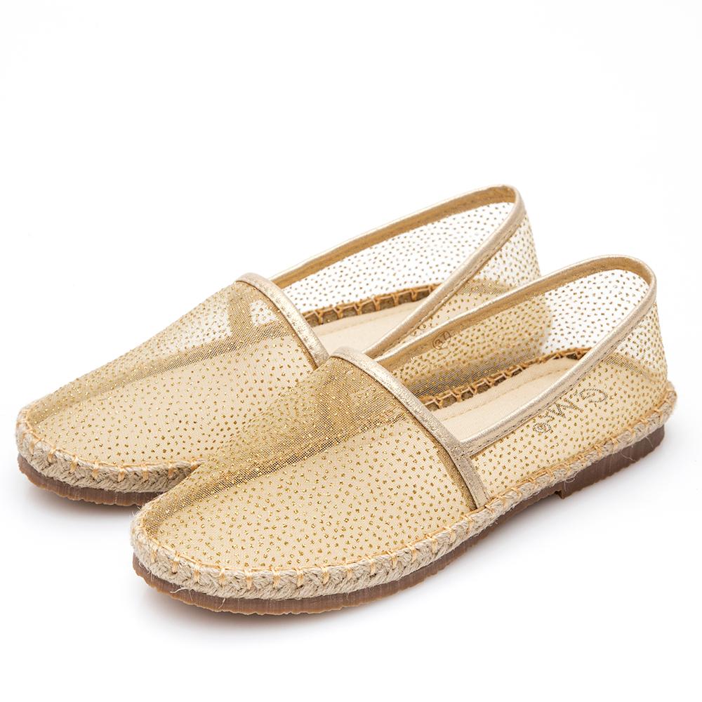 G.Ms. 金屬亮粉透膚懶人鞋-金色