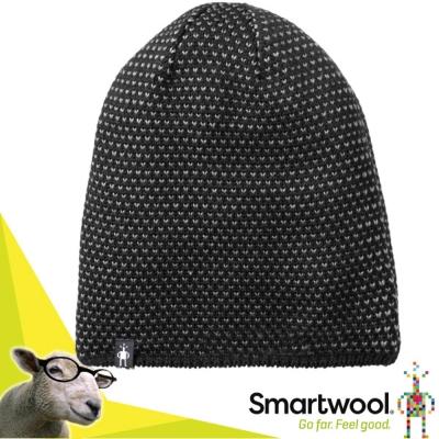 【美國 SmartWool】Diamond 美麗諾羊毛 鑽紋毛呢軟帽.保暖針織帽/黑