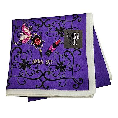 ANNA SUI 優雅玫瑰蝴蝶圖騰蝴蝶口紅字母LOGO刺繡帕領巾(亮紫色)