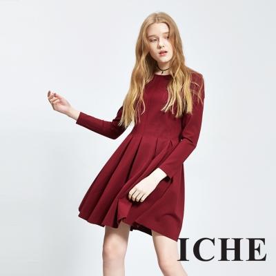 Chaber巧帛 簡約素面打褶長袖紅洋裝