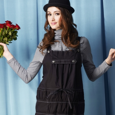 ohohmimi孕婦裝-潮牌創意吊帶抓縐孕婦背心洋裝