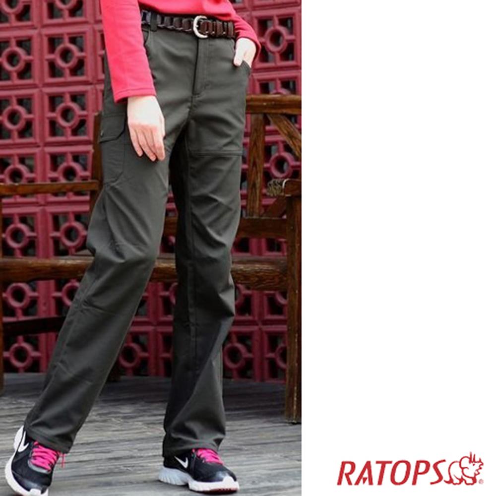 【瑞多仕】女彈性刷毛抗UV保暖長褲_DA3650 暗綠褐 V1