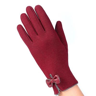幸福揚邑 防風加絨觸控騎車開車保暖棉手套-時尚蝴蝶-紅色