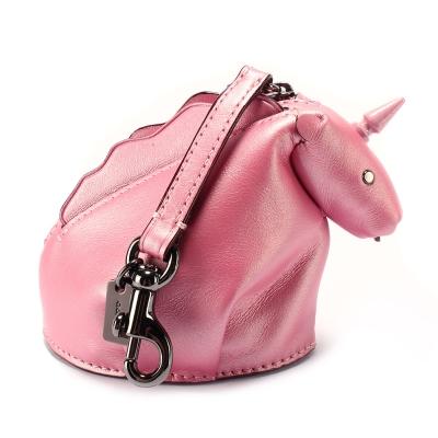 COACH 獨角獸造型金屬皮革吊飾零錢包-粉紅色(附盒)