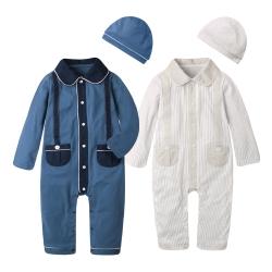 baby童衣 歐風假吊帶薄長袖連身衣附帽子 2件套 60181