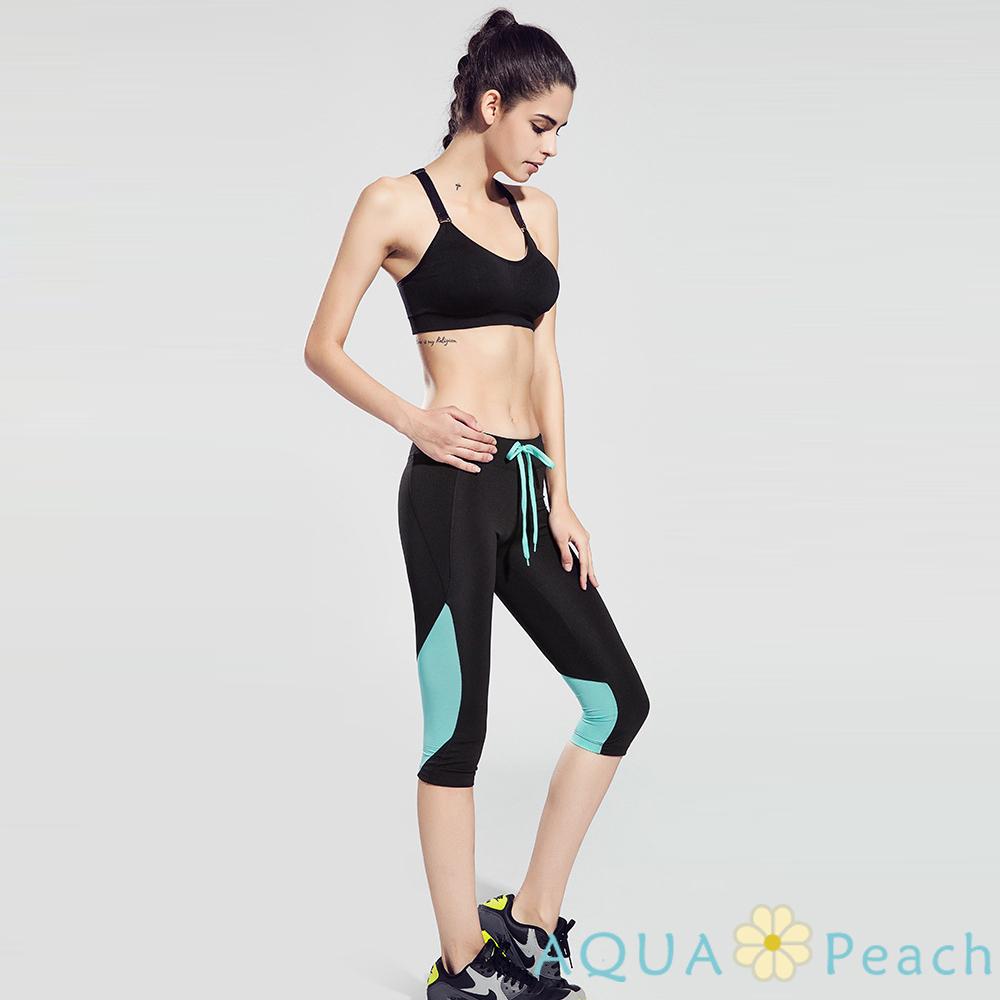 運動褲 拼色設計抽繩七分運動褲 (共二色)-AQUA Peach