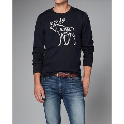 A&F 經典刺繡麋鹿長袖T恤-深藍色 AF Abercrombie