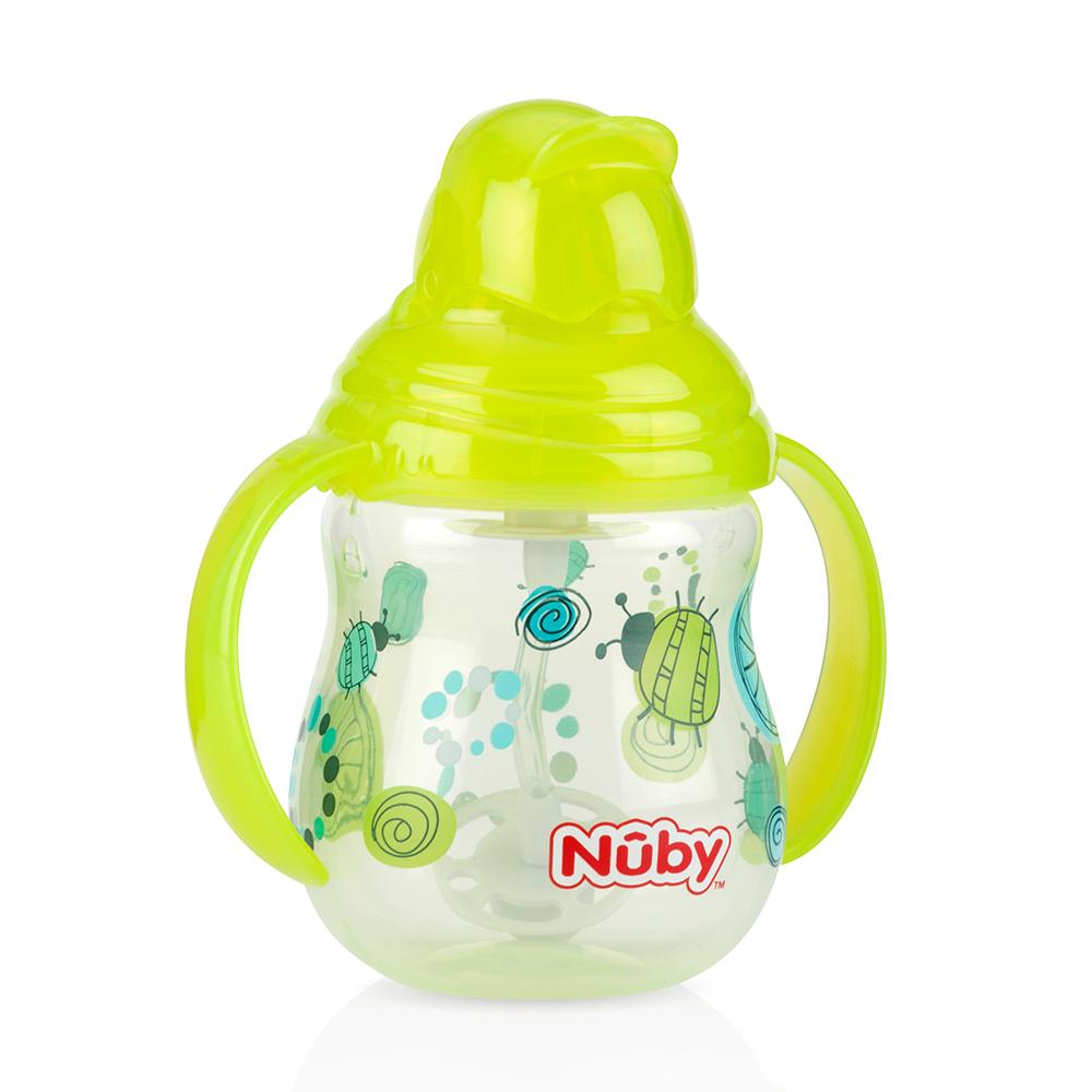 Nuby 卡拉雙耳彈跳吸管杯(360度吸管)270ml(幾何款)-綠(12m+)