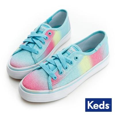 Keds 漸層亮片帆布鞋(For Kids)-藍綠